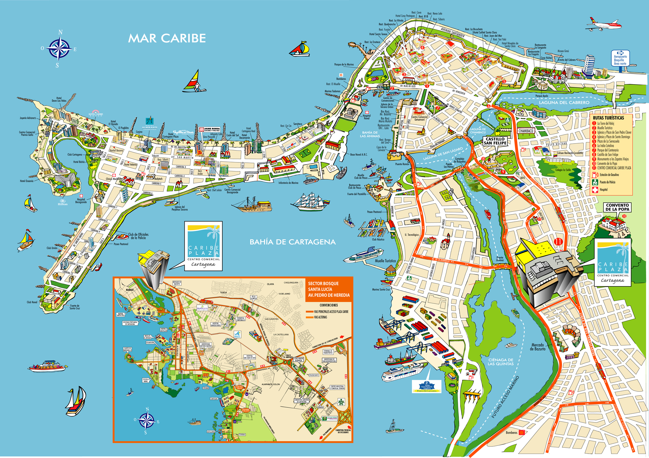 Cartagena Cartoon Map