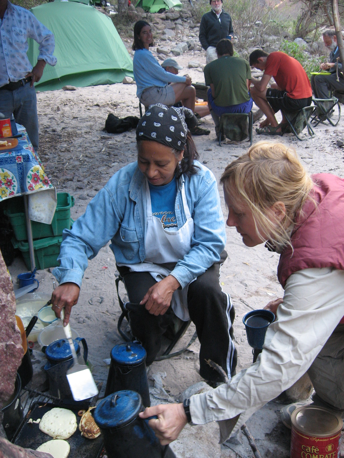 Copper Canyon Trails' camp chef prepares fresh meals on the campfire…and plenty of miner's coffee.