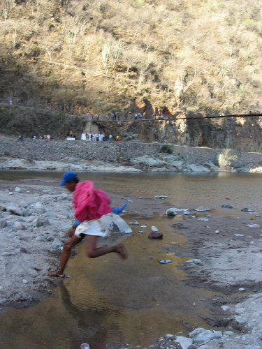 Tarahumara showing Sierra pride in traditional dress during the Caballo Blanco Urique Ultramarathon.